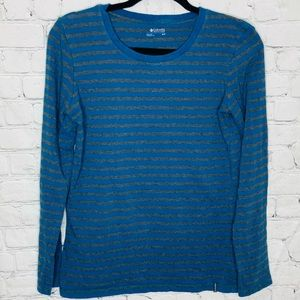 Columbia striped blue and grey long sleeve top